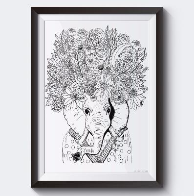 Elephant A Colorier